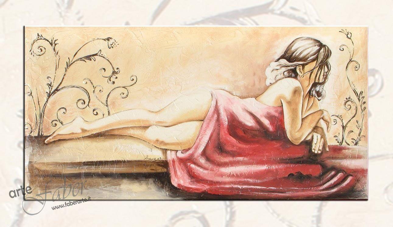 Quadro figurativo donna dipinto su tela