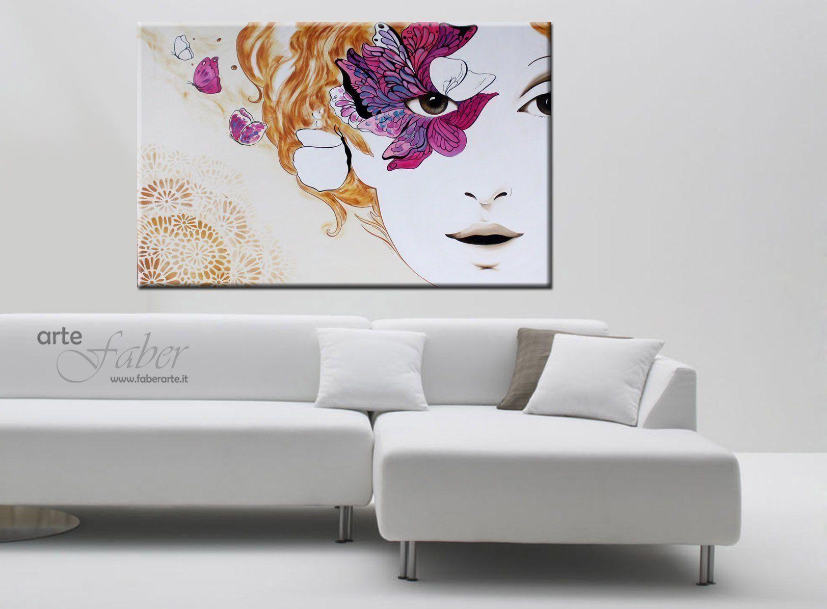 Quadri moderni dipinti volti di donna e farfalle for Quadri per soggiorni moderni