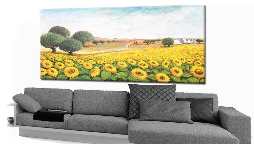 Quadro paesaggio valle di girasoli faberarte for Finestra 50x100