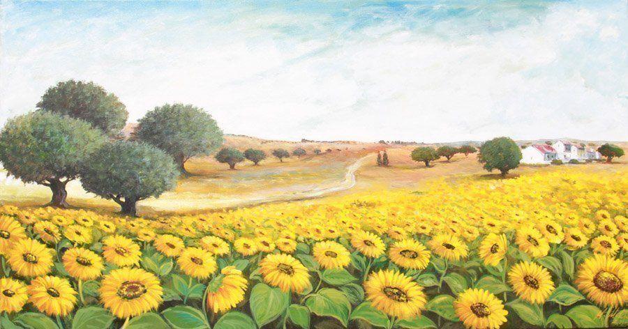 Quadri dipinti paesaggi vallata di girasoli faber arte for Quadri dipinti a mano paesaggi
