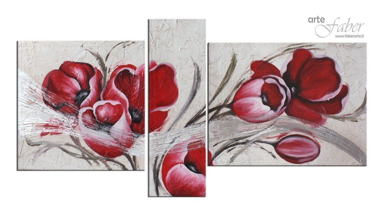 Quadro fiori moderno dipinto a mano olio su tela