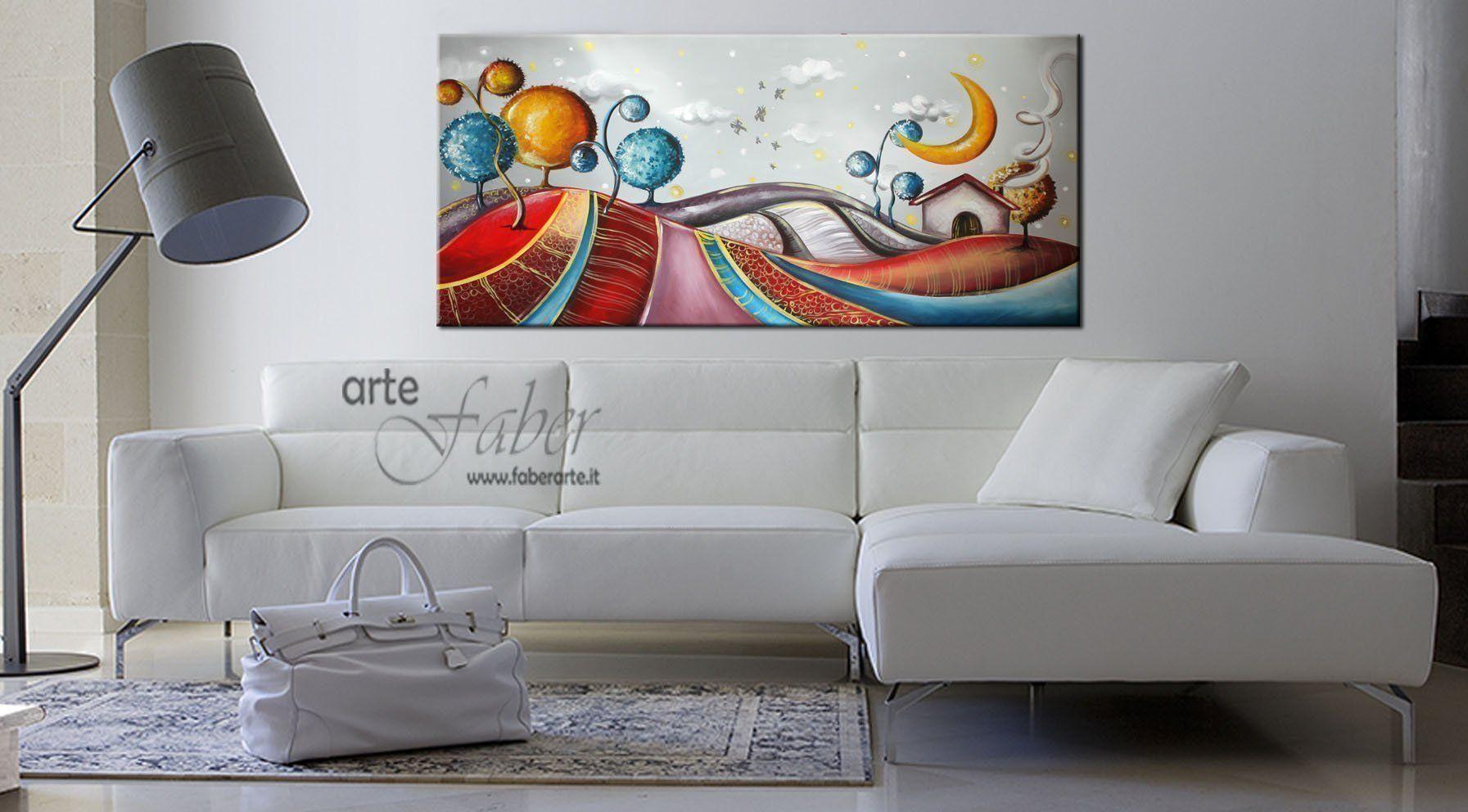 Quadri moderni dipinti a mano immaginario notturno for Quadri per soggiorni moderni