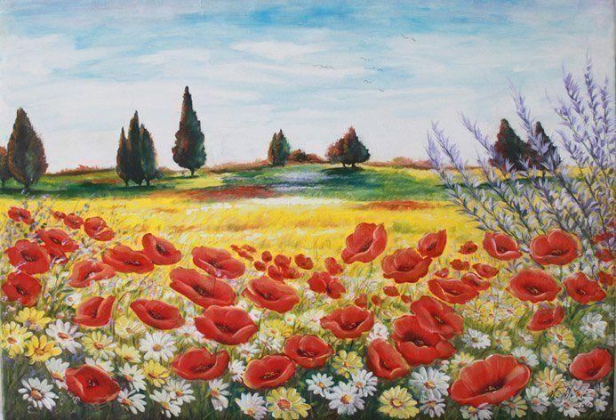 Quadri paesaggi campo di papaveri faber arte for Quadri dipinti a mano paesaggi