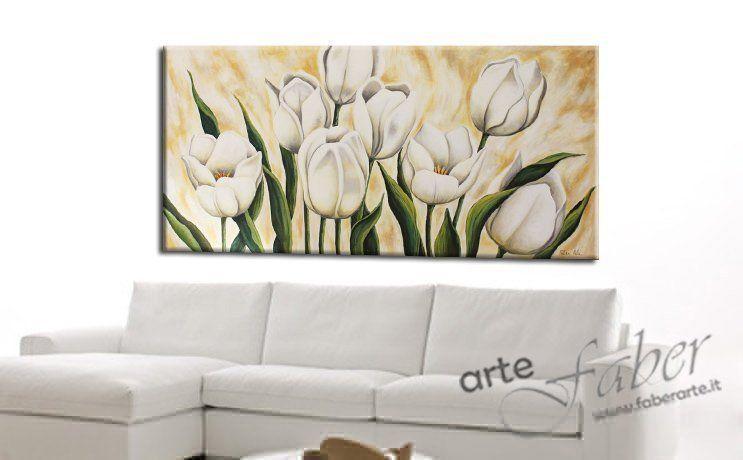 quadri moderni floreali, quadri tulipani bianchi
