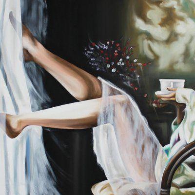 """Quadri dipinti donna """"Caffè alla finestra"""""""