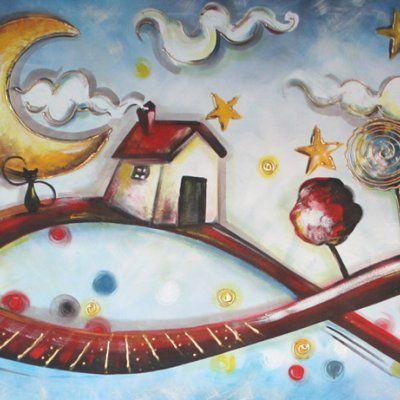 Quadro dipinto moderno - Ad un passo dalla luna