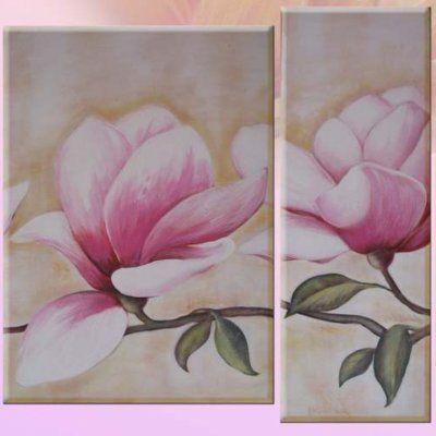 Quadro fiori dipinto modulare olio su tela