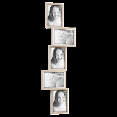 Portafoto multiplo rovere e bianco