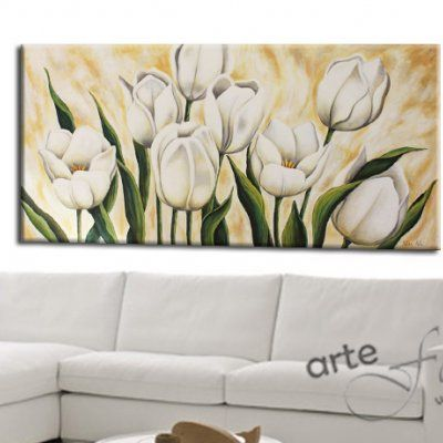 "Quadri moderni floreali ""Tulipani Bianchi"""