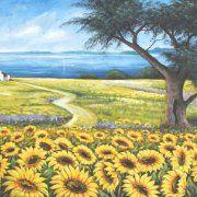 quadri dipinti paesaggi girasoli