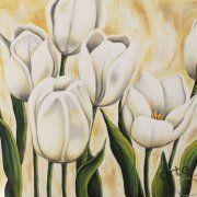 quadri moderni floreali, quadri tulipani bianchi, dipinti su tela